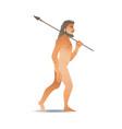 sketch caveman naked in loincloth walking vector image vector image