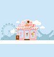 small gelateria shop family vector image