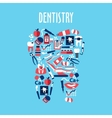 Tooth made up of dentistry flat symbols vector image vector image