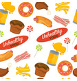 unhealthy food seamless pattern pastry and vector image vector image