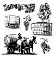 Women dancing barrel grapes charioteer cart driven vector image vector image