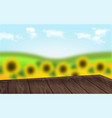 wooden table with sunflowers background realistic vector image vector image