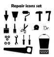 repair black icons set tools images vector image