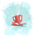 pink cup with coffee drink on a abstract vector image