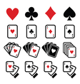 Playing cards poker gambling icons set vector image