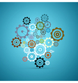 Abstract Cogs - Gears Set on Blue Background vector image vector image