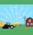 agricultural works at farmland landscape vector image vector image