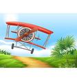 Airplane landing on dirt road vector image
