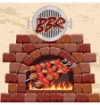 barbecue in fireplace vector image vector image
