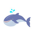 blue whale cartoon flat vector image vector image