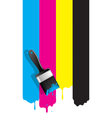 Brush with cmyk paint vector image vector image