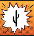 cactus simple sign comics style icon on vector image
