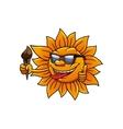 Cartoon hot sun with chocolate ice cream vector image vector image