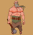 cartoon muscular man with a long beard and a club