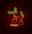 cherry fruit on neon sign on brick wall vector image