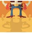 Cowboy with guns background vector image vector image