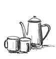 cup of coffee and kettle background vector image