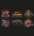 custom cars vintage colorful badges vector image vector image