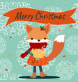 cute fox in merry christmas theme vector image