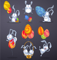 Easter rabbits with eggs in the form of balloons vector image vector image