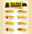 Fast Food Menu Design vector image vector image