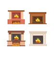 fireplaces with wooden logs isolated icons set vector image