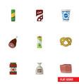 flat icon meal set of packet beverage yogurt vector image vector image