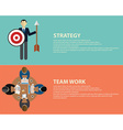 Flat style business strategy and team work concept vector image vector image