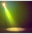 Floodlight spotlight illuminates wooden scene vector image vector image