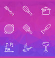gastronomy icons line style set with dirty pot vector image