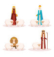 group of manger characters vector image vector image