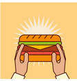 hand holding sandwich fast food tasty vector image