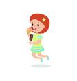 happy redhead girl licking ice cream cartoon vector image