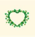 heart made from shamrocks leaf vector image