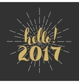 hello 2017 Merry Christmas Happy New Year Hand vector image vector image