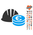 helmet and euro coins icon with dating bonus vector image vector image