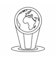 Hologram globe icon outline style vector image