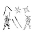 japanese ninja set sketch vector image