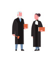 judge woman man couple court workers in judicial vector image vector image