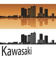 Kawasaki skyline in orange vector image