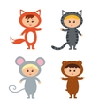 kids wearing animal costum vector image vector image