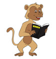 monkey reading science book vector image vector image