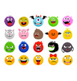 monster and animal emoticons vector image vector image