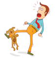 naughty dog biting foot vector image