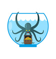 Octopus in aquarium are treasures Miniature kraken vector image vector image