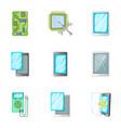 phone repair online service icons set vector image