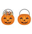 pumpkin bucket vector image vector image
