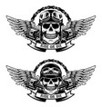 ride or die set of the skulls in racer helmets vector image