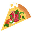 salami pizza with veggiesprint vector image vector image