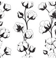 seamless pattern with cotton bolls and branch vector image